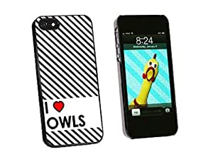 I Love Heart Owls - Snap On Hard Protective Case for Apple iPhone 5 5S - Black by ruishername