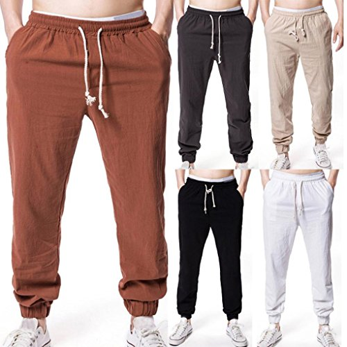AMSKY❤ Men Linen Pants,Summer Men Solid Elastic Waist Straight Baggy Soft Casual Loose Fit Jogger Gym Pants Beach Trouser (M, Coffee)