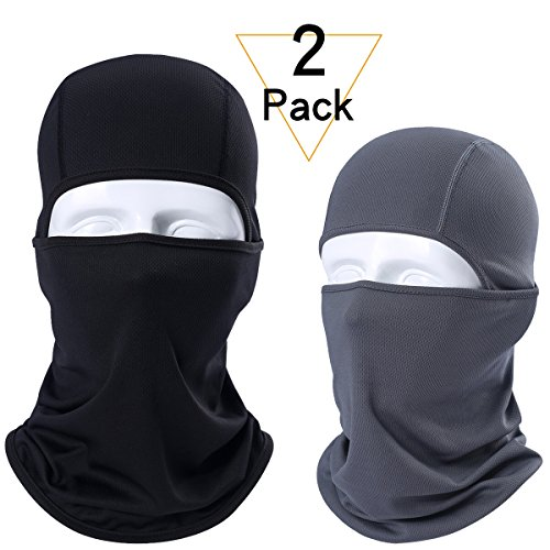 JIUSY 2 Pack - Breathable Windproof Balaclava Face Mask Protection Helmet Liner for Motorcycle Cycling Skiing Snowboard ATVing Hunting Hiking Fishing Skydiving Outdoor Sports Black and Dark Gray (Full Face Weather Mask)