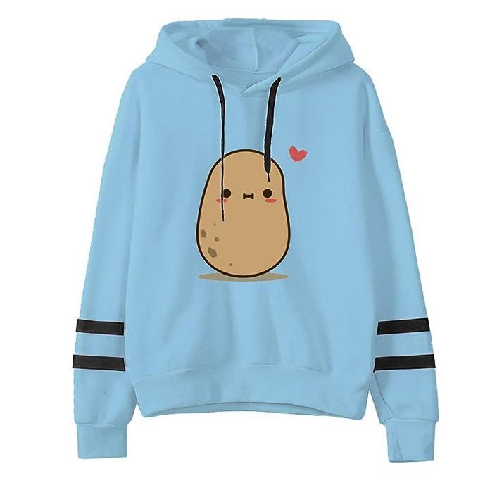 STORTO Womens Hooded Sweatshirts Cute Potatoes Pattern Teen Girls Hoodies  Casual Loose Pullover Sweatshirt Outwear