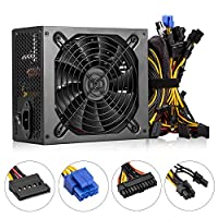 1600W Power Supply for Mining,C CLTEIN Above 90% High Efficiency Switching Power Supply Gold for 6 GPU Bitcoin Ethereum S9 S7 L3 Rig Mining(160-240V 1600W)