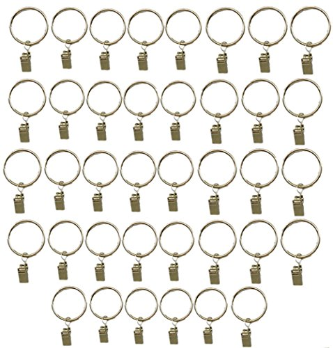 e Metal Drapery Curtain Rings with Clips-1 Inch Interior Diameter, Clip Rings for Curtain (Sliver) (Metal Drapery Rings)