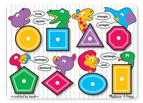 - Melissa & Doug Shapes Wooden Peg Puzzle (8 pcs)