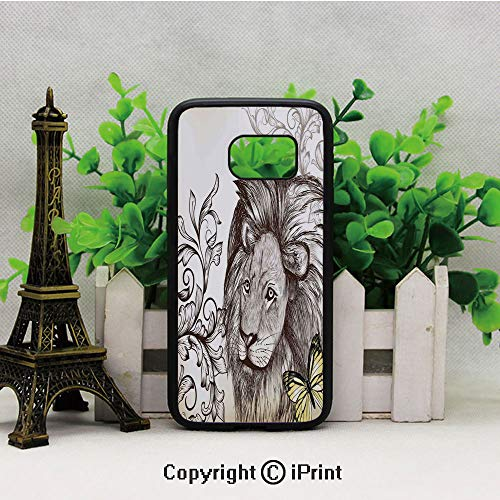 Lion Mane Butterfly Ornamental Vintage Decorating Artwork Wild Sketch Style Design Samsung Galaxy S7 Case with Artistic Black Soft TPU and PC Protection Anti-Slippery Case for Samsung S7