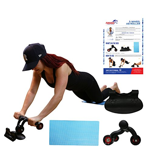 Furious Fitwear 3 Wheel Ab Roller Machine with Knee Mat for Speed Abs Training for Men & Women - Perfect Heavy Duty Abdominal Toning Trainer Equipment for Core Fitness Workout Exercises