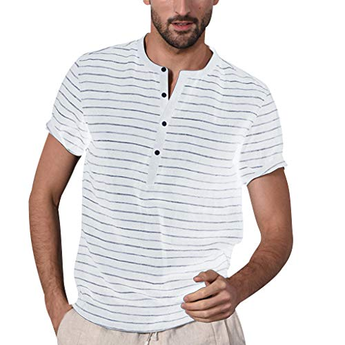 (Pongfunsy Men Blouse, Mens Summer Button Linen Solid Short Sleeve Casual Vintage Splicing Tops Loose Striped T Shirts (S, White))