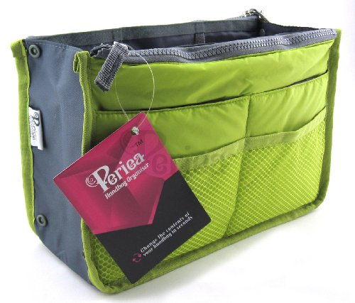 Periea Handbag Organizer, 12 Compartments - Chelsy (Apple Green, Small) (Insert Green)