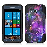 Samsung ATIV S Neo I800 I187 I8675 Case, Fincibo (TM) Hybrid Dual Layer Protector Cover Gel Silicone With Y Kickstand, Purple Marvel Nebula Galaxy Heavenly Stars