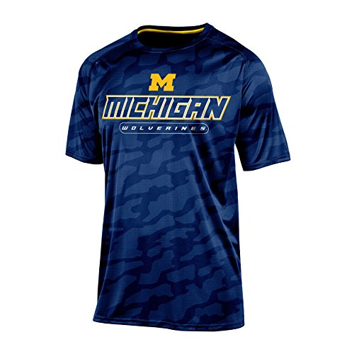NCAA Michigan Wolverines Men's Impact Embossed T-Shirt, Large, Navy (Michigan Wolverines Clothing)