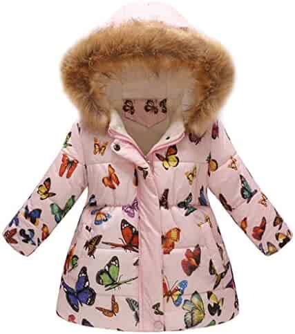 3a878dc165d Toddler Thick Outwear,Wokasun.JJ Baby Child Butterfly Printed Coat Winter  Warm Hooded Overcoat