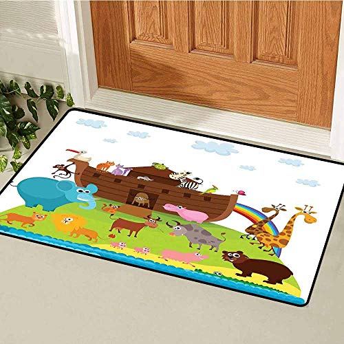 (GloriaJohnson Cartoon Universal Door mat Various Safe Animals The Two of Every Kind Boarding The Ark Clip Art Design Print Door mat Floor Decoration W19.7 x L31.5 Inch Multicolor )