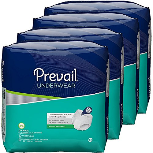 Prevail Maximum Absorbency Incontinence Underwear, 2X-Large, 12-Count (Pack of 4) Prevail Protective Adult Underwear