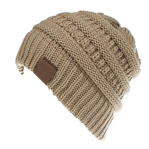 Women and Girls BeanieTail Soft Stretch Cable Knit Messy High Bun Ponytail Beanie Hat (Adult Camel Color)