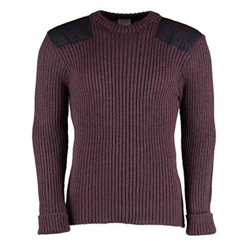(British Commando Sweater Woolly Pully Crew Neck (Medium (40-42 inch), Purple Mix))
