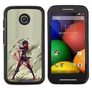 Anime héroe- Metal de aluminio y de plástico duro Caja del teléfono - Negro - Motorola Moto E / XT1021 / XT1022