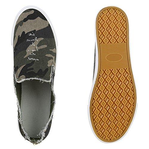 Stiefelparadies Bequeme Damen Sneakers Sneaker Slip-Ons Ballerina Schuhe Flats Slippers Ballerinas Neon Stoffschuhe Muster Profilsohle Flandell Camouflage Total