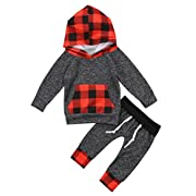 Little Baby Boys Toddlers Plaid Long Sleeve Hoodie Sweatshirt Top With Pocket Long Pants Outfit Set (Grey, 0-6M)