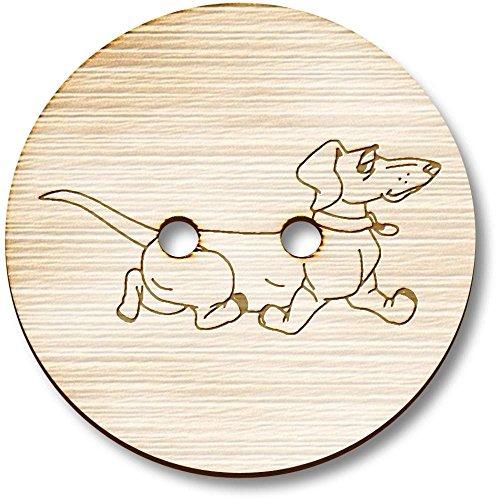 Azeeda 8 x 23mm 'Dachshund Dog' Round Wooden Buttons (BT00072721) -