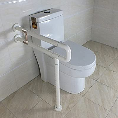 IBAMA R Shape Toilet Safety Frame Rail Shower Grab Bar for Home and Hotel(Stainless Steel Coated With White Nylon)
