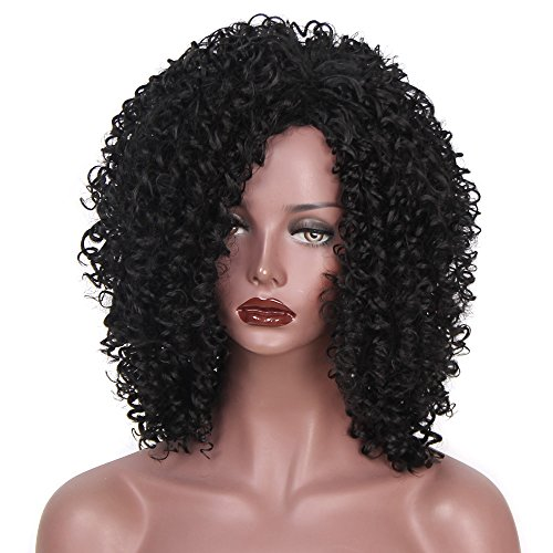 """Search : Synthetic Afro Kinky Curly Wigs for Black Women African American 16"""" Long Black Kinky Curly Hair Heat Resistant Wigs"""