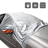 Pulusi Windshield Snow Cover Elastic Hooks Fixed Four Wheels and Reflective Warning Bar on Mirror Covers Fit for Most Vehicle