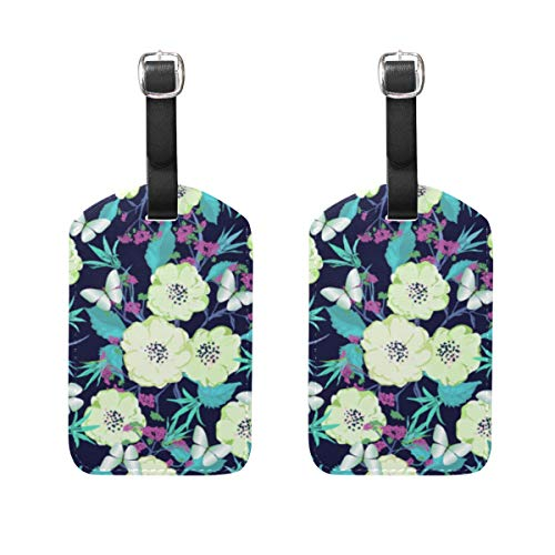 Butterfly Meadow Leaf - Luggage Tags With Full Back Privacy Cover - Meadow And Field Flowers With Leaves And Butterflies Baggage Suitcase Labels Bag Travel Accessories PU Leather 2 Piece