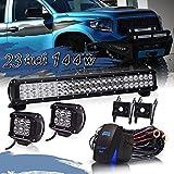 2014 brute force 750 lift kit - TURBOSII 22/23 Inch Led Light Bar 144w 14400LM Spot Flood Combo Work Light Off Road Lights Driving Lights + 4