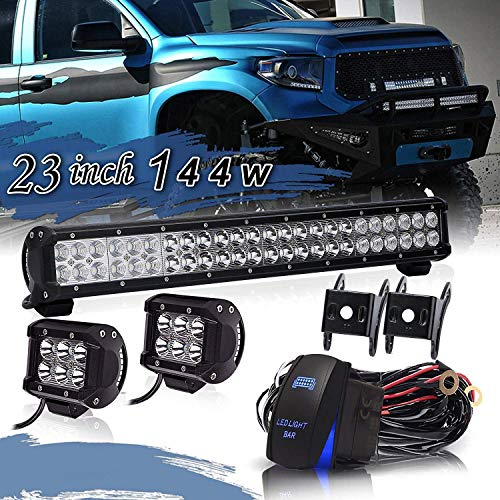 TURBOSII 22/23 Inch Led Light Bar 144w 14400LM Spot Flood Combo Work Light Off Road Lights Driving Lights + 4