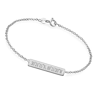 b440db1254434 Amazon.com: Ouslier Personalized 925 Sterling Silver Bar Bracelet ...