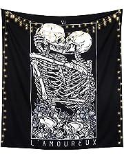 LOMOHOO Skull Tapestry Kissing Lover Black and White Tarot Skeleton Flower Tapestry Wall Hanging Beach Blanket Romantic Bedroom Dorm Home Decor (Skull Kissing Lover, M:130x150cm/51 x59)