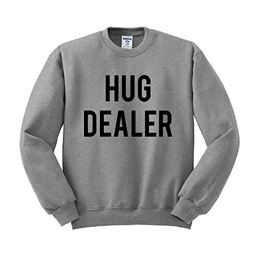 Hug Dealer Sweatshirt Unisex Large Grey