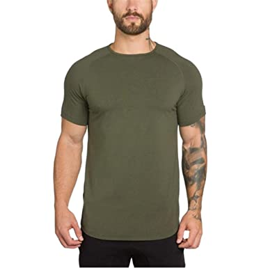 f8056bfb5870f Wintialy Men s Gyms Crossfit Bodybuilding Fitness Muscle Short Sleeve  T-Shirt Top Blouse Army Green
