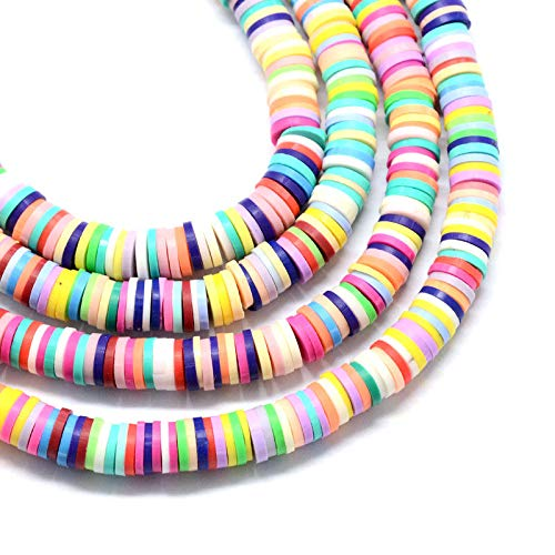 FidgetFidget Colorful Handmade Polymer Clay Beads Flat Disc Loose Spacers Craft 6mm 10 Strds