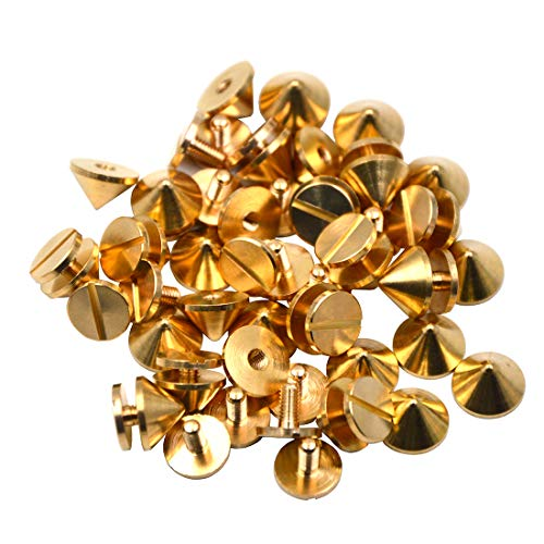 Okones Pack of 30,3/8''Diameter,1/4''Tall,Solid Brass Tree Spike Studs and Spikes Metalic Screw Rivets Nails Button for Leathercraft Punk DIY (3/8''×1/4''tall Spikes) ()