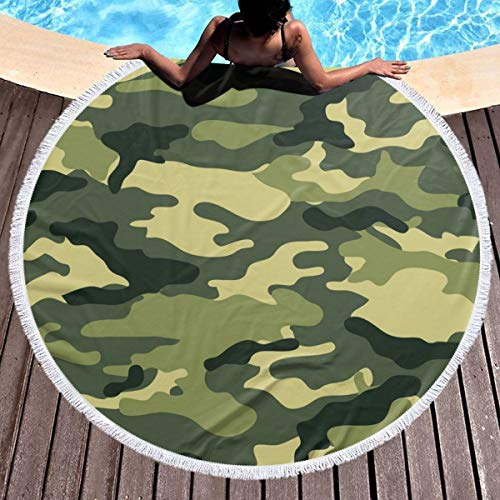 (Bethwerdr Round Beach Towel for Women&Girl, Military Camo Woodland Camoflage Hippie Happy Youth Towel Extra Large Sand Proof Blanket Yoga Mat with Tassels 59