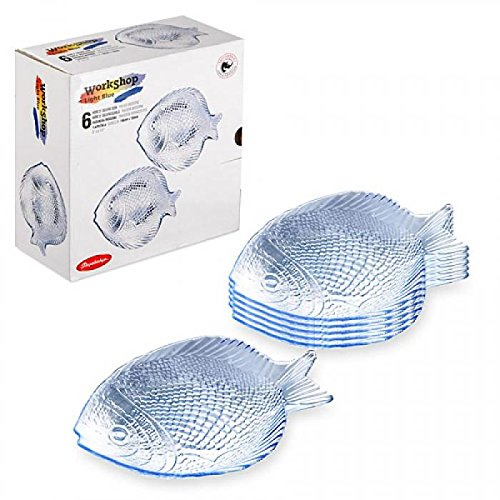 Pasabahce Marine 6 pc Set Crystal Clear Glass Fish Shaped Platter Snack Dish (Shaped Plate Snack)