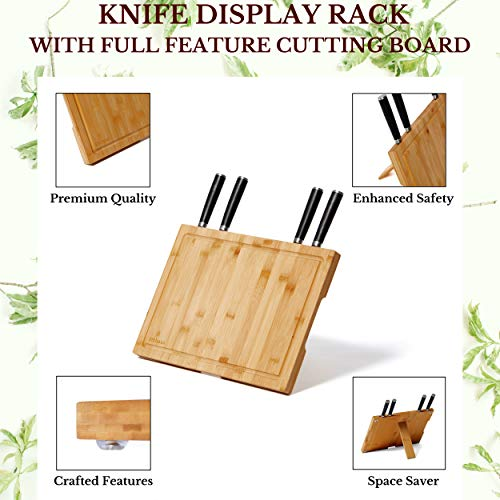Bamboo Cutting Board Magnetic knife holder-Large cutting board with juice grooves, back stand,chopping block(14.5\