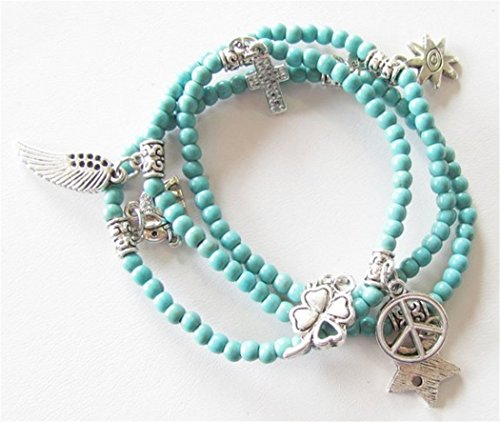 3 in 1 Bracelet, Necklace and Anklet, Turquoise Glass Stones with 8 Silver Tone Charms Adjustable