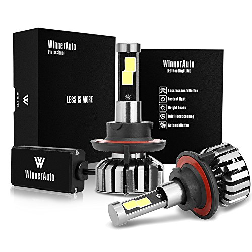 WinnerAuto LED Headlight Bulbs H13 9008 COB Clips Conversion Kit, 72W 7,200LM 6K Cool White, Slim Size, Perfect Beam, 2 Yr Warranty (Headlight Bulb H13)