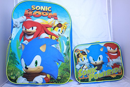 Sonic Backpack School BookBag with Lunch Box Set