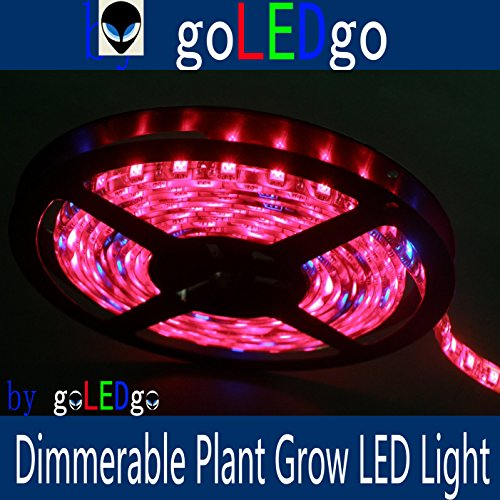 goLEDgo Dimmerable LED Plant Grow Light Strip 16FT 5M 300 LEDS 5050 SMD Waterproof R/B 8:1 DC12V,with Finished DC Head and Power Supply,Plug and play,Brightness Adjustable Plus DIY Kit