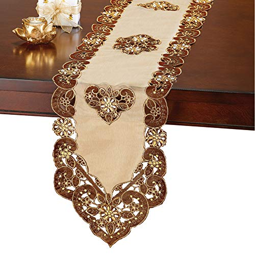 (Collections Etc Velvet Table Linens with Elegant Cutwork - Organza, Topper Overlay, Runner)