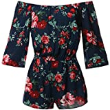 Awesome21 Floral Print Off Shoulder Flare Sleeves Romper Navy Size M