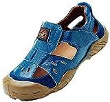 DADAWEN Boys & Girls Summer Outdoor Athletic Leather Closed-Toe Spoort Sandals (Toddler/Little Kid/Big Kid) Blue US Size 1.5 M Little Kid