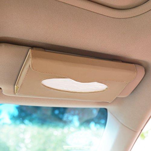ChiTronic Car Sun Visor Napkin PU Leather Box Tissue Cover Holder - Beige