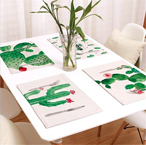 ZOPPO Set of 4 Flax Placemats Japanese Chinese Napkin Classic Retro Style Non-Slip Heat-Resistant Placemats Washable Stain Resistant Easy to Clean for Kitchen and Dining Room (Cactus)