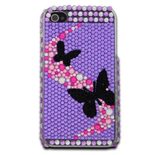 deinPhone - iPhone 4 4S Case Schutzhülle Schutz Handy Hülle Bumper Tasche Etui Hard Case mit Perlen besetzt in Lila Schwarz Schmetterling