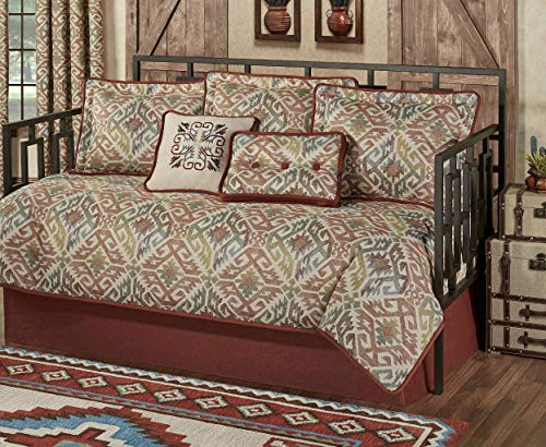 (Touch of Class Southwest Daybed Bedding 7 Piece Set Multi Bandera Warm Southwest Decor Medallions Cinnabar)