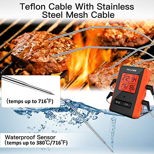 Meat Thermometer for Grilling, MILCEA Wireless Remote Digital Grill Thermometer with 300 Feet Range and 4 Upgraded Probes Probes for Smoker Grilling Kitchen Oven BBQ Grill for Christmas New Year Party