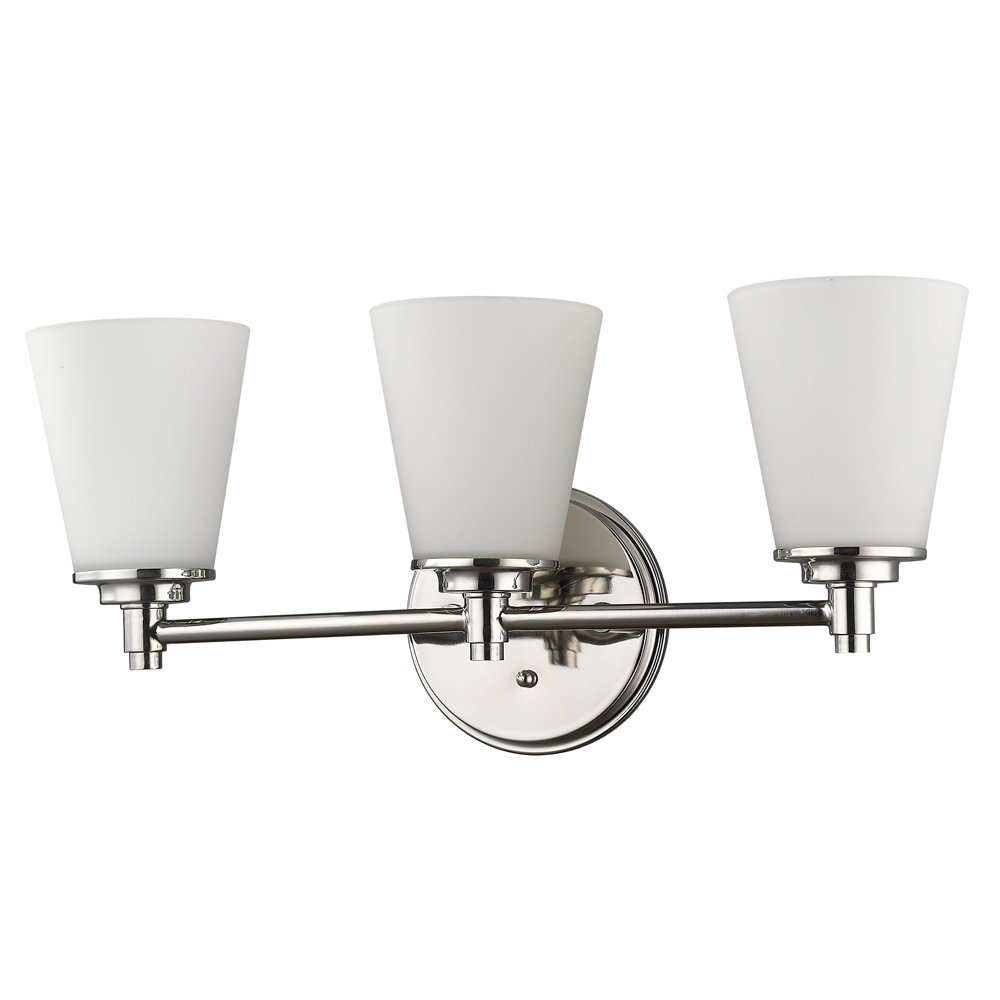 Acclaim Lighting IN41342PN Conti Indoor 3-Light Bathroom Sconce with Glass Shades Polished Nickel